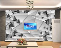 Wholesale three paintings wall art resale online - custom photo wallpaper Abstract D Three dimensional Space Art Living Room TV Background Wall Decorative Painting d wallpapers
