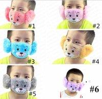 Wholesale kids winter masks resale online - Winter Cartoon Face Mask Ear Protector Parent child Adult Kids Ear Masks Baby Boys Girls Mouth muffle Earmuffs Windproof Ear Warmer E92902