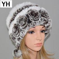 Wholesale cap rex for sale - Group buy New Fashion Women Real Rex Fur Hat Lady Winter Knitting Natural Warm Soft Real Rex Fur Cap Retail