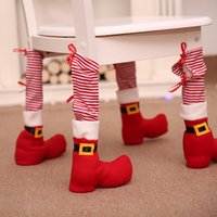 Wholesale chair foot covers resale online - Christmas Chair Foot Cover Red Striped Restaurant Table Foot Cover Houseware Table Chair Protection Covers Xmas Decoration Supply DBC BH4272