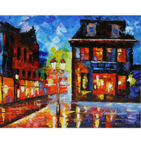 Wholesale street art painting frame resale online - Leonid Afremov Canvas Art quot German Street quot Home Decor Oil Painting On Canvas Wall Art Canvas Pictures For Living Room