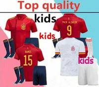 Wholesale iniesta soccer jersey for sale - Group buy 2020 national team spain kids soccer jersey full kits PACO ALCACER ASENSIO MORATA ISCO INIESTA THIAGO kids Football shirt kits socks