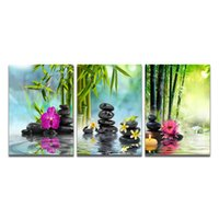 Wholesale modern art bamboo paintings for sale - Group buy Stones and Bamboo Modern Wall Art Painting Canvas Poster and Print Art Picture for Living Room