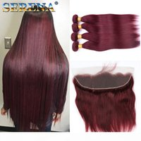 Wholesale straight weave baby hair for sale - Group buy Burgundy Wine Red J Brazilian Virgin Hair Weave Bundles with x4 Frontal Closure Peruvian Straight With Baby Human Hair Extension