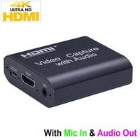 4K HD Capture Card With Audio out 4K 1080P USB 2.0 Mic. In & Audio out Video Capture Device Game Record Live Streaming Box