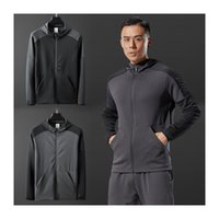 Wholesale Mens Hooded Running Jacket Basketball Soccer Sportswear Training Shirts Patchwork Reflective Stripe Man Gym Coat