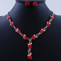 rose women dress suits 2021 - Hot Vintage Red Rose Clip Earrings Necklace Suit Women Romantic Rhinestone Flower Wedding Jewelry Sets Gold Plated Alloy Dress Accessories