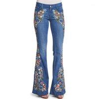 4XL Women Flower Embroidery Flare Jeans Elegant Plus Size Pants Denim Pants Female Casual Long Trousers1