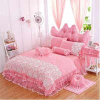 Wholesale pink ruffle full bedding set resale online - Korean princess lace bedspread bedding set twin full queen king size pink purple red ruffle lace wedding bedskirt