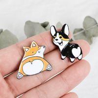 Wholesale corgi butt resale online - New Funny Puppy Kitten Butt Pins Cartoon Corgi Dogs Cats Brooches Bag Clothes Lapel Badges