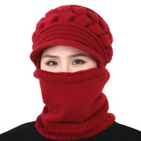 Wholesale skiing gloves sale resale online - Women Bib Beanie Hat Comfortable Scarf Face Cover Knitted Winter Warm Snow Ski Cap Best Sale WT