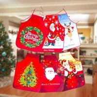 ingrosso grembiuli da regalo-Christmas Apron Santa Claus Merry Christmas Decor for Home Party festival Xmas Gifts Cartoon Waist Aprons 6 Colors DHB2684