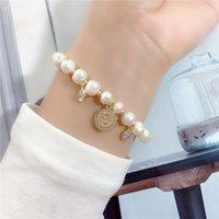 Wholesale pearl coin bracelets resale online - Korean metal portrait coin Zircon Bracelet simple natural pearl Elastic belt natural pearl personality adjustable elastic string FzQoZ FzQoZ