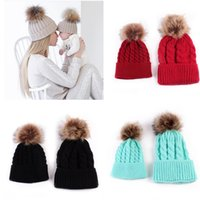 Wholesale crochet beanies hats for girls resale online - Free DHL Colors INS Mother and Me Baby Kids Boys Girls Beanies Adults Winter Crochet Pom Poms Hats Children Newborn Caps for Years