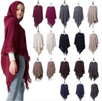 Wholesale knitted hood scarf for sale - Group buy Knitted Cape Coat With Cap Capes Scarves Hooded Hoodie Autumn Tassel Cape Hood Sweater Jumper Holiday Pashmina Clothes Clothing LJJP646