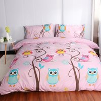 Discount owl bedding set full Owl Cartoon Kids Bedding Sets size 2 3Pcs Duvet Cover Set For USA Europe 4-7Pcs Bed Linens Sheet Set For Russia bedclothes Pink 201105