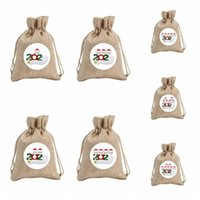 Wholesale fabric painted for sale - Group buy Mask Family Christmas Gift Bag Drawstring Pocket Candy Bags Snowman Tree Decoration Hanging Ornamentparty Painting Decor Props LSK1522