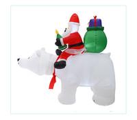 Wholesale blue santa claus costume resale online - Christmas Santa HOTSELLING Claus Snowman Inflatable Suit Christmas Party Costume Clothes Inflatable Santa Claus with bear Interior FWB2405