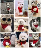 Wholesale gray winter scarf for sale - Group buy Holiday Pet scarf accessories Christmas knitting scarf cat and dog scarf accessories winter fashion warm animal decorations