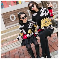 Wholesale mommy and me sweater resale online - Mother And Daughter Knitting Sweater Pullover Girls V neck cartoon knitting cardigan sweater Mommy And Me Matching sweater A4511