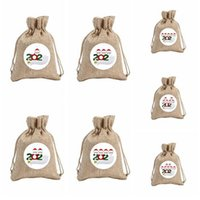 Wholesale fabric painted resale online - Quarantine Christmas Gift Bag Drawstring Pocket Candy Bags Snowman Tree Decoration Hanging Ornamentparty Painting Decor Props IIA733