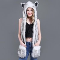 Wholesale shawls gloves sets for sale - Group buy dropshipping New Fashion Animal Warm Winter Faux Fur Hat Fluffy Plush Cap Hood Scarf Shawl Glove Dint
