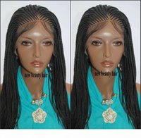 Wholesale natural hairstyles braids for sale - Group buy Natural handtied cornrow braids wig black hairstyle box braids Synthetic Lace Front Wigs For Black Women micro Braids wig with baby hair
