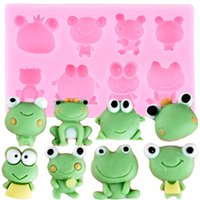 Wholesale cute frogs resale online - 3D Cute Frog Silicone Mold Cupcake Topper Fondant Cake Decorating Tools Candy Caly Chocolate Gumpaste Moulds