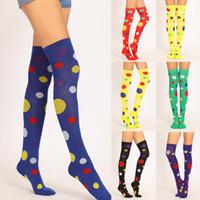 Wholesale yellow polka dot socks resale online - Clown Stockings Polka Dot Yellow Green Red Over the Knee Socks Acrylic Cotton cm Halloween Christmas Girl Stocking Gift BWB1508