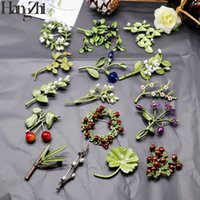 Wholesale lotus flower tree resale online - HANGZHI Vintage Enamel Cool in summer Green Color Plant Pearls Pin Tree Lotus Leaf Flower bamboo Brooch for Women Jewelry Gift