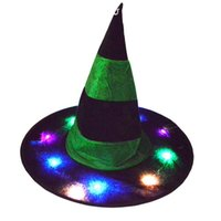 Wholesale novelty glow hats resale online - Fashion Unisex Cute Halloween Christmas Skullies Hat Funny Glowing Multicolor Witch Hat Festival Dance Party Show T1P