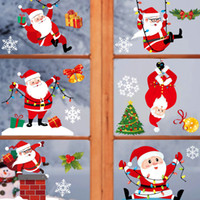 Wholesale Cute Christmas Color Static Stickers Window Stickers Home Glass Doors Bathroom Stickers Shopping Mall Hotel Christmas Decorations VT1827