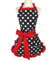 Wholesale aprons pockets for women for sale - Group buy Lovely Stylish Retro Lacy Vintage Flirty Maid Polka Dot Cooking Kitchen aprons for woman Working Adjustable Apron with Pockets