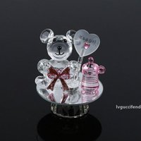 Wholesale crystal christening favors resale online - Crystal Bear Milk Bottle Baptism Baby Shower Souvenirs Party Favors Christening Giveaway Gift for Guests W9977