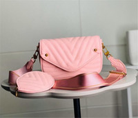 Wholesale real chest resale online - Waistbag Chest Bag Three Piece Bags Printing Flowers in Chain Bag Lady Real Leather Wallet Strap Crossbody Shoulder Messenger Coin Purse