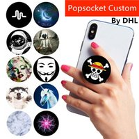 Wholesale black hand grips resale online - Factory Custom LOGO for Phones Universal Hand Phone Grip Pops Holder Pocket Socket Flexible Gasbag Expanding Mount Pipsocket