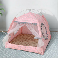 Pet Cat Dog Teepee Tents Houses with Cushion & Blackboard Kennels Accessories, Portable , Wood Canvas Tipi Fold Tent Small Animals Bed