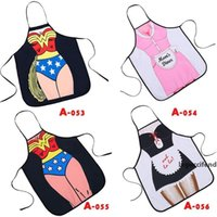 Wholesale sexy apron home kitchen resale online - Swordsman Sexy Man Women Apron Maid Printed Personality Home Cooking Baking Party Funny Cleaning Gift Aprons Kitchen Accessories yq ff