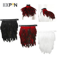 Wholesale feather capes resale online - Punk Gothic Feather Cape Shawl Real Natural Rooster Feather Collar Choker Cape For Halloween Stage Performance Cosplay Costume