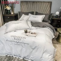 Wholesale egyptian cotton sheets for sale - Group buy Egyptian Cotton Bedding Sets Soft Duvet Cover Bed Sheet Set Nordic Queen King size Bed Linen Luxury Satin Bed Set For Hotel C1020