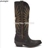 Wholesale distressed boots for sale - Group buy SHOOEGLE Winter Women Western Cowboy Boots Embroiderd Leather Cuban Heels Distressed Knee High Boots Slip On Booties Women