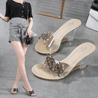 Discount transparent wedges slippers PVC HOT Female Slipper Shoes Women Wedges Transparent High Heels 8CM Summer Butterfly-knot Wild Women Slipper Lazy Shoes Sandals1