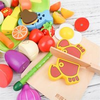Wooden cutting cooking food set magnetic wood vegetable fruit pretend to play kitchen kit toy gift Y200428