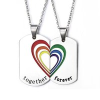Wholesale lesbian chains resale online - ANL041 Stainless Steel Rainbow Heart quot together forever quot Necklace Lesbian Pride Gay Pride Chain Choker Dog Tag Necklace