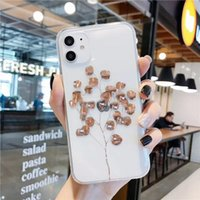 Wholesale Rose Gold Plating Art Leaves tree Phone Case For iphone Pro Xs MAX s Plus Shining Plant Tree Transparent Back Cover