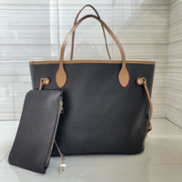 Wholesale discount totes for sale - Group buy Designer classic brown presbyopia oversized shopping bag two genuine leather bags high quality handbags discounted prices