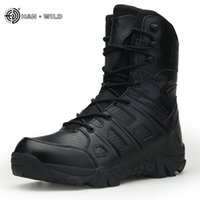 Wholesale army tactical boots resale online - Men Tactical Military Boots Winter Leather Waterproof Desert Combat Army Work Shoes Mens Ankle Boot Man Plus Size LJ201028