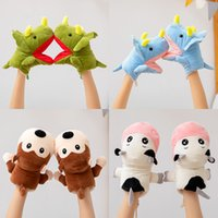 Wholesale hanged women cartoons for sale - Group buy Cartoon gloves for men and women winter Korean Version cute plush thickened student neck hanging Triceratops MONKEY Plush gloves T3I51398