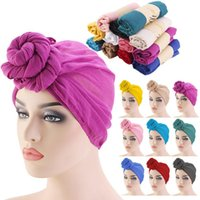 Wholesale indian turban headband for sale - Group buy Fashion Twist Knot Turban Cap Women Headbands Cap Casual Female Muslim Indian Hats Ladies Hair Accessories Solid Color Chemo Cap bbykRX