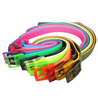 Wholesale silicone jelly belts for sale - Group buy Coloful Adjustable Women Men Silicone Belt Jelly Rubber Plastic Buckle Belts Student Jeans Pants Straps Wristband for Clothes